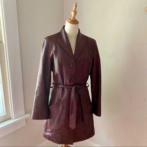 70's Vintage David James Maroon Leather Jacket